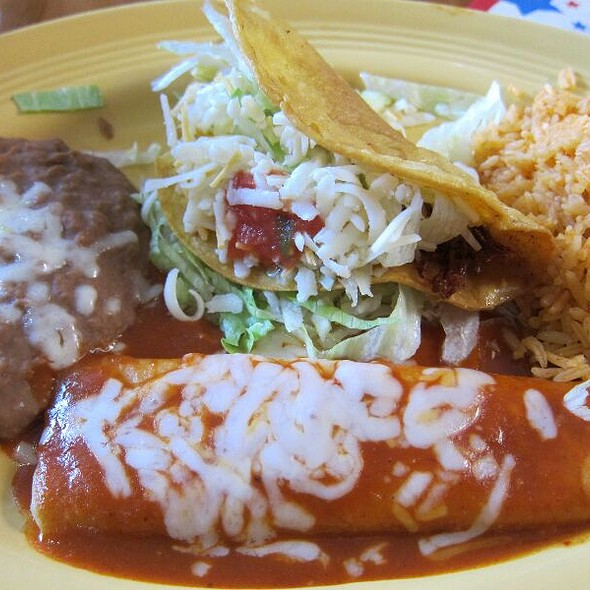 Chicken Taco And Cheese Enchilada - La Feria Restaurant, Inglewood, CA