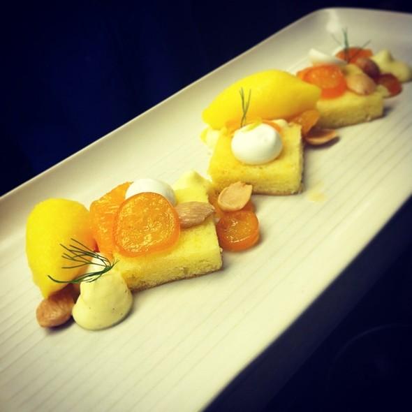 Lemon Olive Oil Cake -- Buttermilk, Local Citrus, Mandarin Sorbet @ Borgne