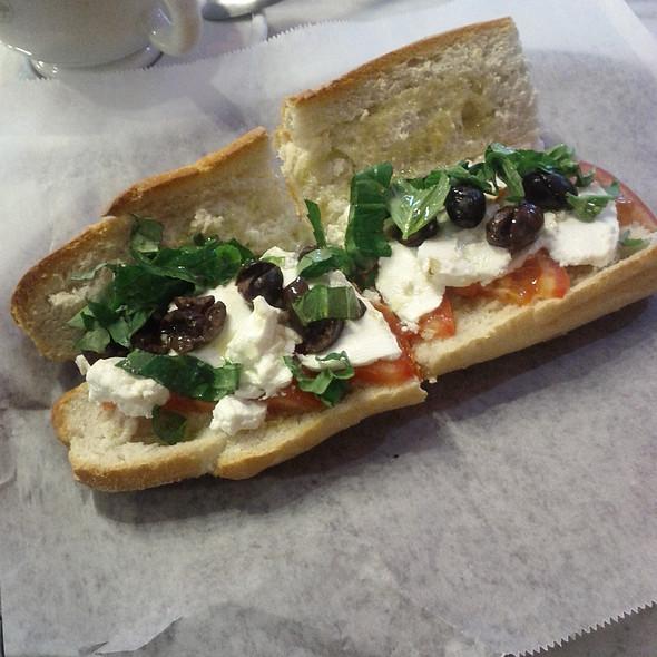 Mozzarella, tomato, basil n olives sandwich @ Cafe Lutecia