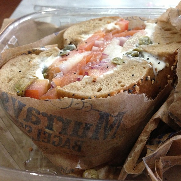 Whole Wheat Bagel With Smoked Salmon & Scallion Cream Cheese @ Murray's Bagels