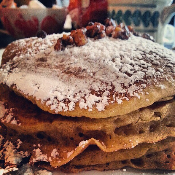 Pumpkin pancakes (Pumpkin pancake mix, candied pecans, powdered sugar and cinnamon spiced whipped cream) @ Tailgaters