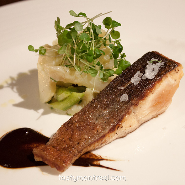 Arctic char with black garlic puree  - Park Restaurant, Montreal, QC