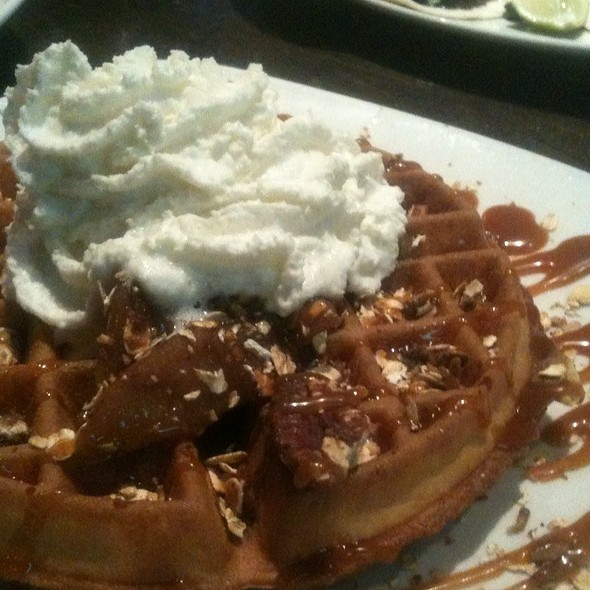 Apple Waffle With Salted Caramel, Granola, Bourbon Whipped Cream - Market Garden Brewery, Cleveland, OH