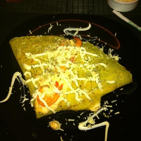Crepe de camarão com queijo e ervas @ Orégano Creperia