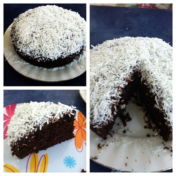 Moist Chocolate Cake With Chocolate Ganache And Shedded Coconut