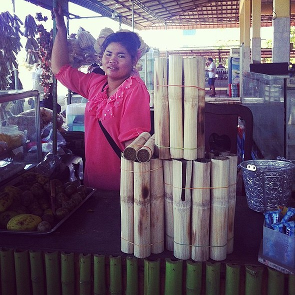 Roadside snack in NE Cambodia: krolan - sticky rice mixed with beans and coconut and roasted in a bamboo stick. Delicious! @ Nash Ranch