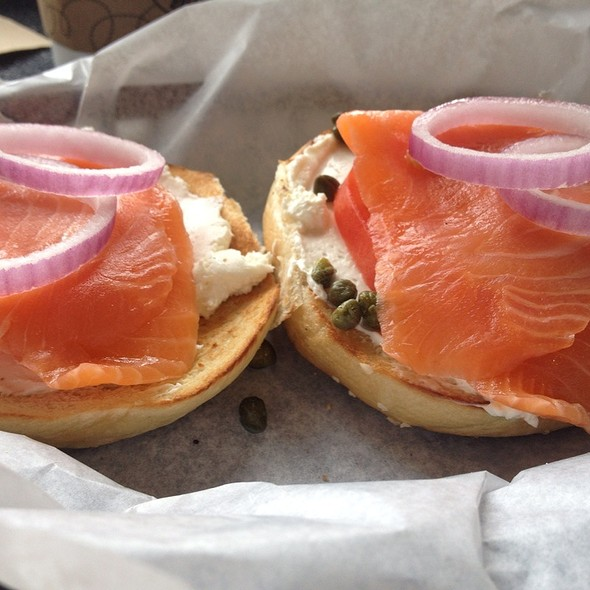 Bagel and Nova Lox sandwich @ Einstein Bros Bagels