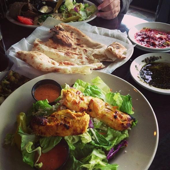 Greek Salad With Chicken Skewer