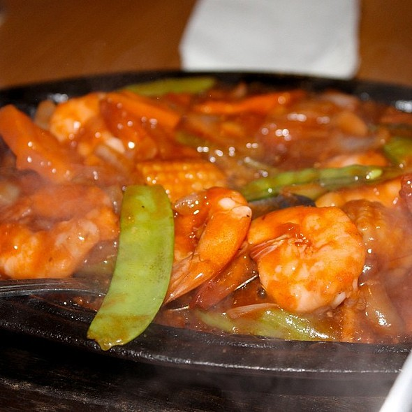 Spicy Sizzling Hot Gambas for dinner last night. @ Sylvia's Restaurant & Ihaw-Ihaw