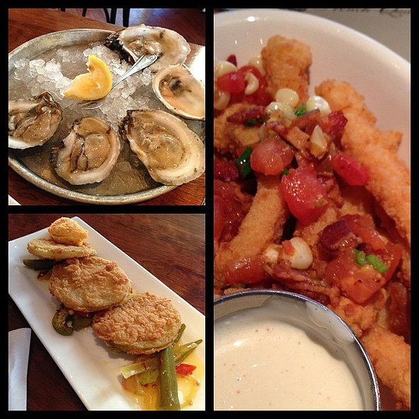 Fried green tomatoes, oysters and calamari @ Amen Street Fish and Raw Bar
