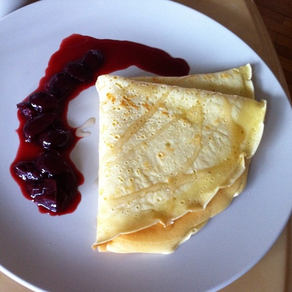Homemade Crepe With Homemade Cherry Red Wine Sauce @ Home