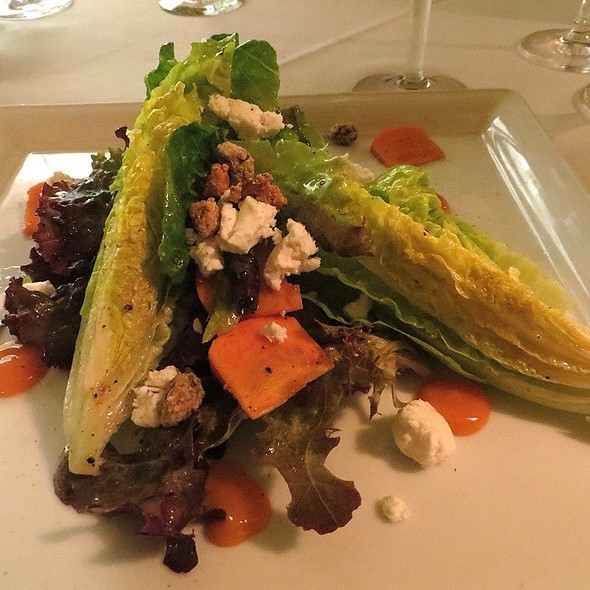 Sonoma County Greens With Local Goat Cheese, Persimmon Gastrique, Star Anise And Pistachio Dragee - Dry Creek Kitchen, Healdsburg, CA