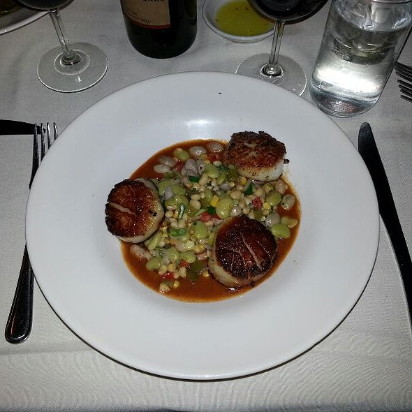 Seared Scallops With Succotash & Charred Tomato Gravy - Muse Restaurant, Charleston, SC