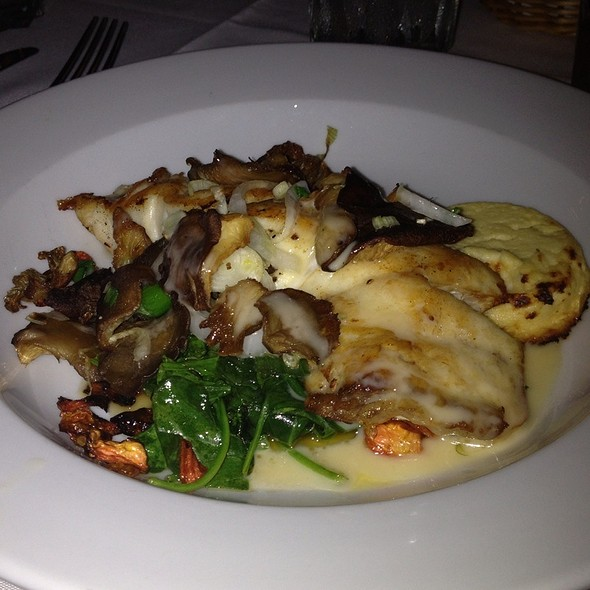 Red Snapper With Mushrooms, Sauteed Spinach And Cauliflower And Goat Cheese Flan