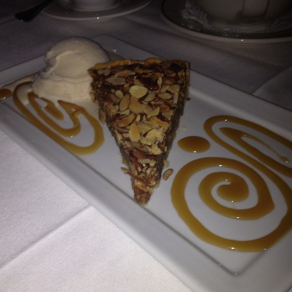 Pecan Almond Tart (Lighter Version Of Pecan Pie) With Homemade Vanilla Ice Cream And Caramel Sauce