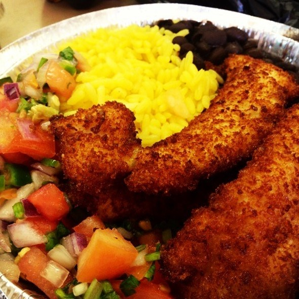 Chicken Fingers With Rice, Beans, & Pico De Gallo @ Raspberry Deli Grocery