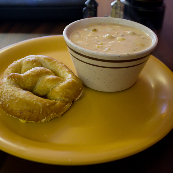 Shrimp an Roasted Corn Chowder with Homemade Pretzel
