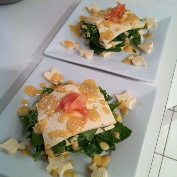 Spinach Tofu Napoleon with Miso Ginger Dressing @ ReMARKable Palate Personal Chef Service