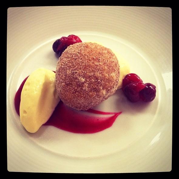 Warm Sourdough Beignet With Mascarpone Mousse And Cranberry Coulis - Restaurant Eve, Alexandria, VA