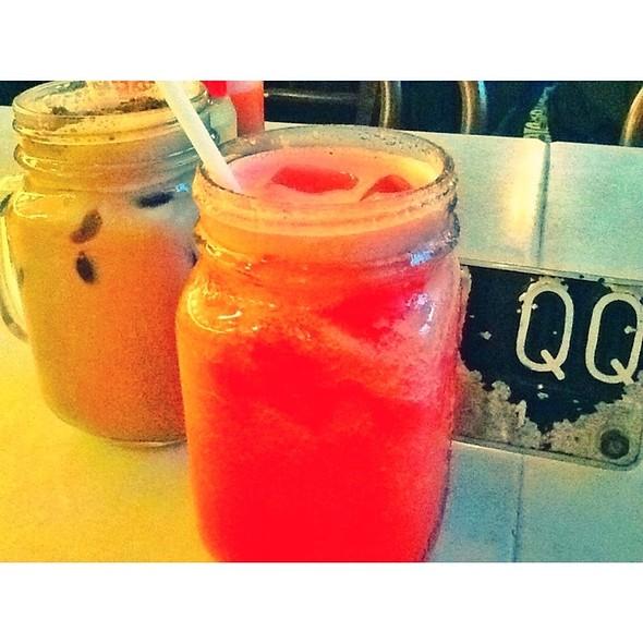 Iced Milo Dinosaur And Watermelon Juice