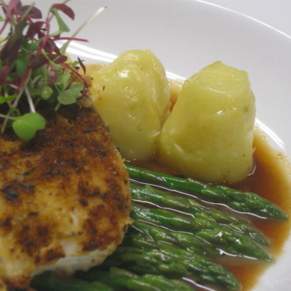 Lavender-Dijon Crusted Halibut @ Rugosa