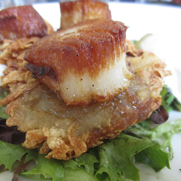 Seared scallops and Poached egg with potato pancake - Essex, New York, NY