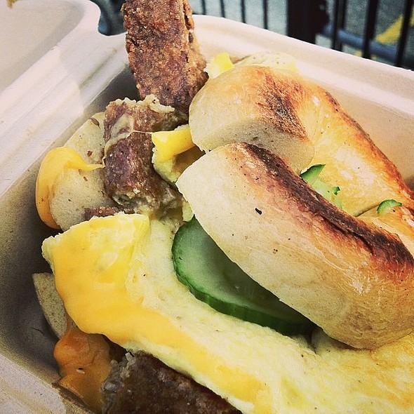 Breakfast Sandwich with Chicken Scrapple @ Beauty's Bagel Shop