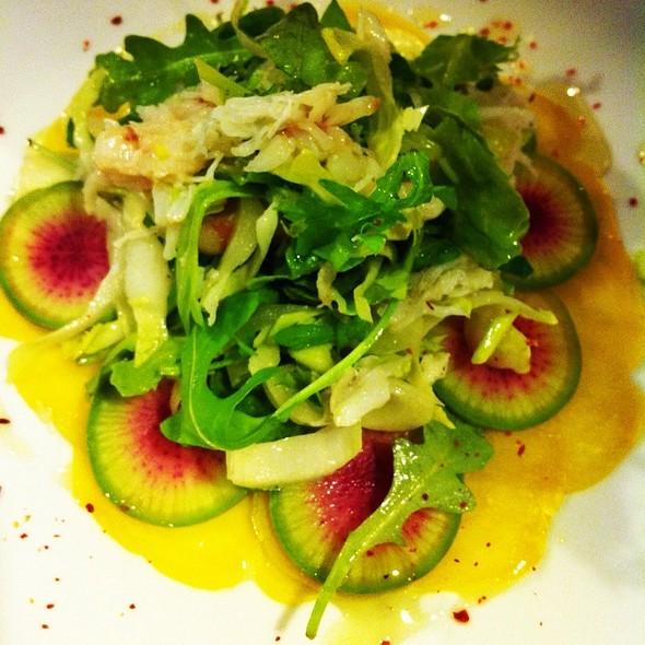 A Winter Salade, Wild Arugula, Endives, Chiogga Beets, Red Winter Radish, Dungeness Crab Meyer Lemon Vinaigrette @ Rue Saint Jacques Restaurant
