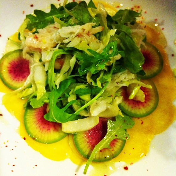 A Winter Salade, Wild Arugula, Endives, Chiogga Beets, Red Winter Radish, Dungeness Crab Meyer Lemon Vinaigrette @ Rue Saint Jacques Restaurant
