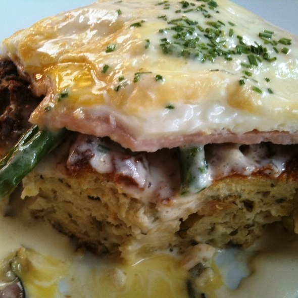 Ham and eggs with herbed bread pudding - Volterra, Seattle, WA