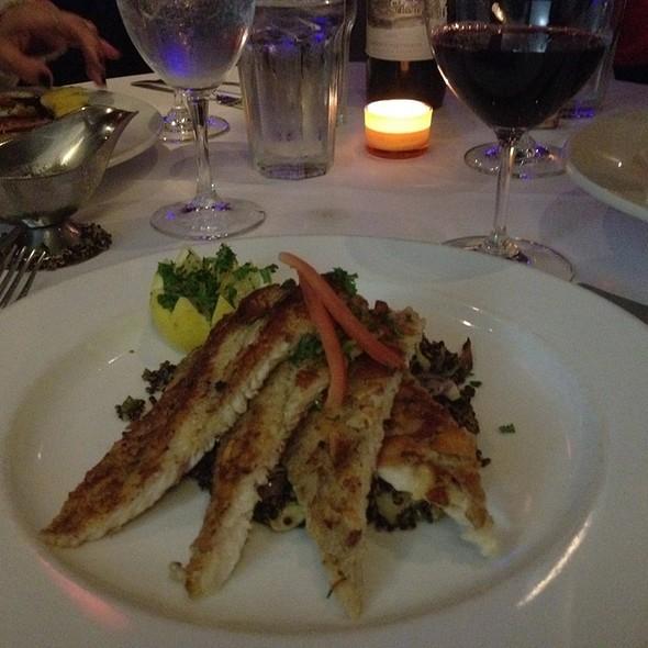 Almond Crusted Idaho Trout w/ black quinoa, artichokes & red pepper  - Suze Restaurant, Dallas, TX