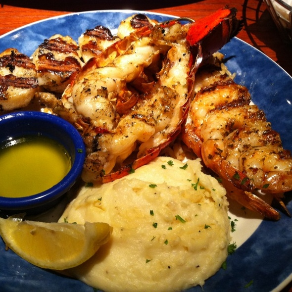 Wood-grilled shrimp, scallops, and lobster tail @ Red Lobster