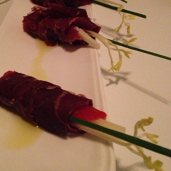 Cecina With Piquillo And Shave Manchego And Truffle Oil @ Chef Diary