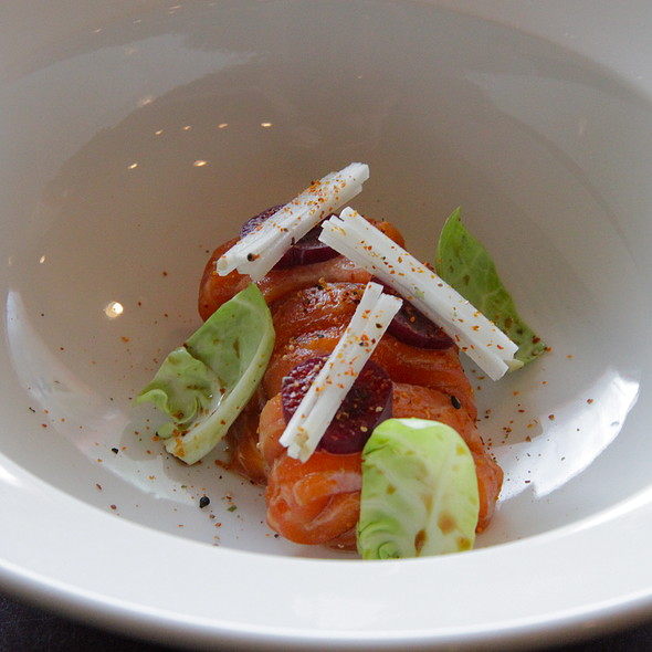 salmon salad w brussel sprouts  @ Allumete