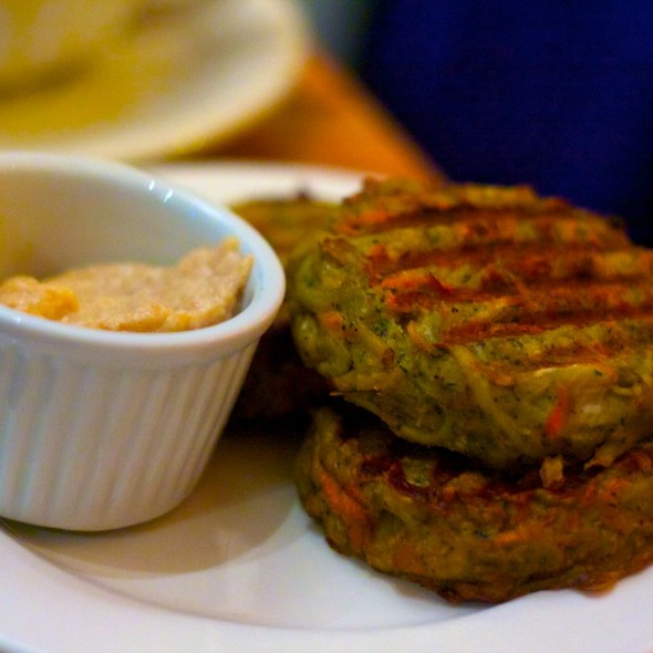 Baby Root Vegetable Latkes @ Sacred Chow Vegan Bistro