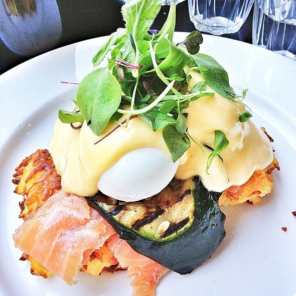 Brunch lovers cream dream. Potato latkes, smoked salmon, grilled zucchini, poached eggs, hollandaise, rocket. @ Three Bags Full