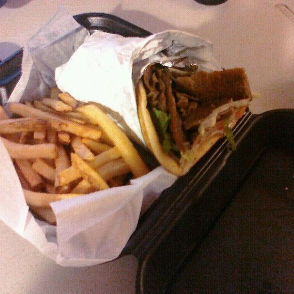 Gyros with fries and Tsatziki @ Basilis Greek Restaurant And Carry Out