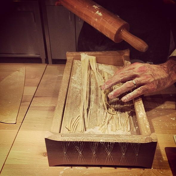 Continuing the pasta workshop. Now we're making chitarra! @ Cintemani Restaurant