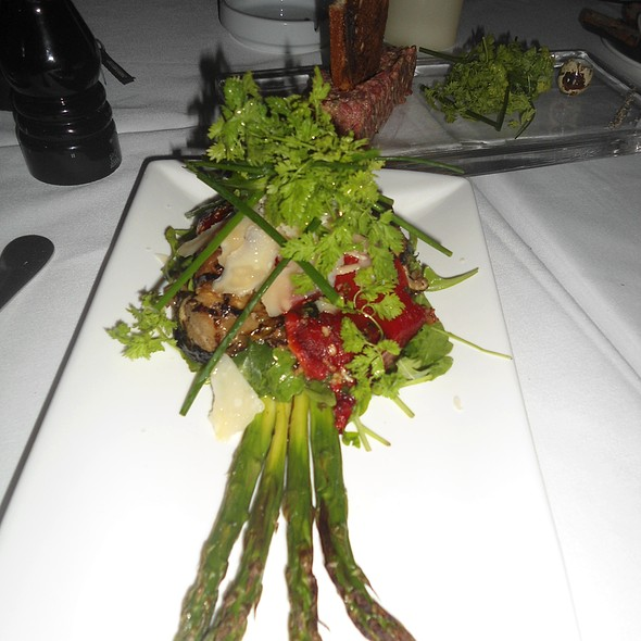 Asparagus and grilled vegetable salad with truffle oil and shaved Pecorino - Villa Azur, Miami Beach, FL