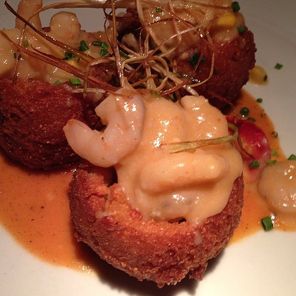 Shrimp stuffed hush puppies @ Fleet Landing Restaurant