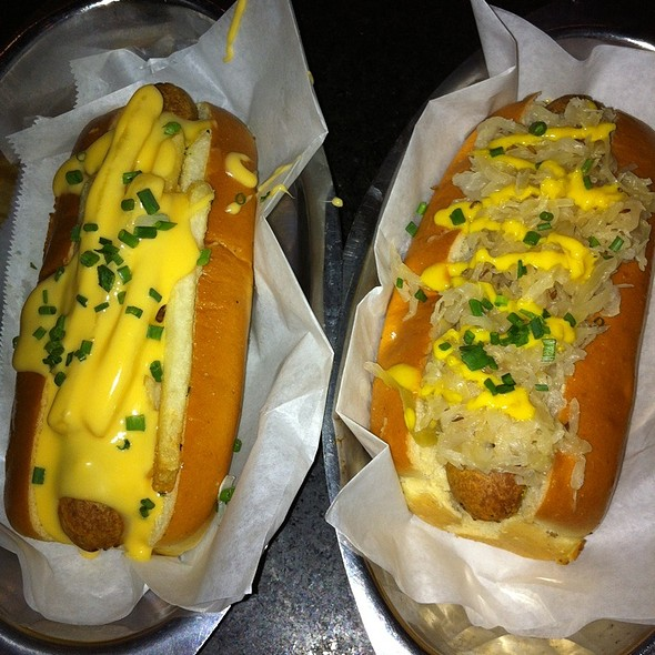 Veggie Dog With Sauerkraut And Veggie Dog With Cheese Whiz