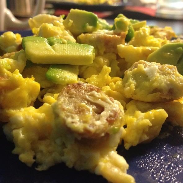 Eggs With Sausage & Avocado @ Home