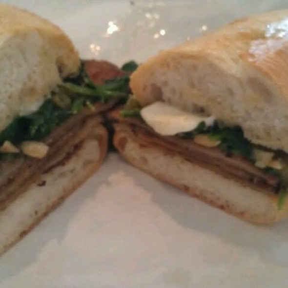 Fried Eggplant, Fresh Mozzarella, Baby Spinach, and Long Hogs @ Mozzarella Fella