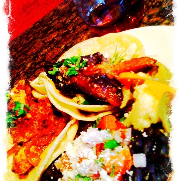 1/2 Chickrn Mole Taco + 1/2 bbq Short Rib Taco Plate @ Bistro Sabor