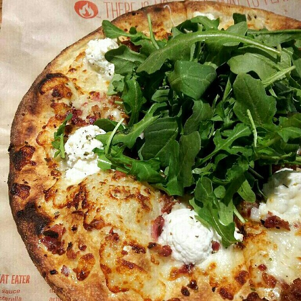 Mozzarella, Ricotta, Bacon, Garlic and Arugula Pizza @ Blaze Pizza