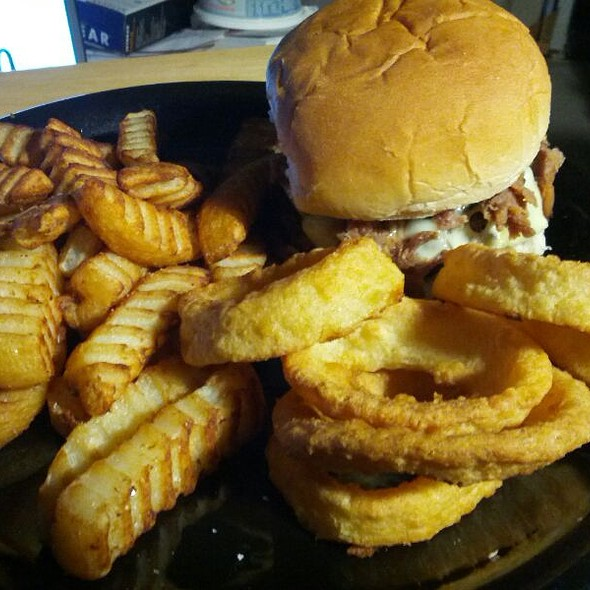 Pulled Pork Cheeseburger with Fries and Onion Rings @ Mikeylito's Kitchen