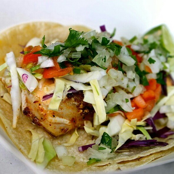 Grilled fish taco with salsa @ maui hawaii