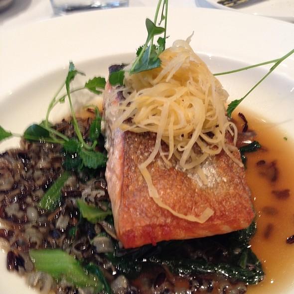 Smoked Pan Seared Heritage Salmon Wilted Greens, Horseradish Slaw, Wild Rice & Swede Broth - Canoe Restaurant and Bar, Toronto, ON