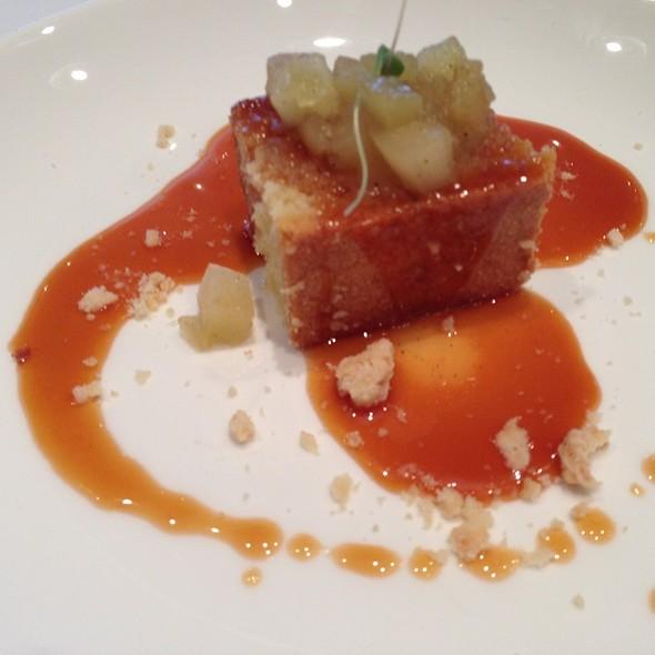 Almond Cake Niagara Apple Compote & Salted Caramel Sauce - Canoe Restaurant and Bar, Toronto, ON
