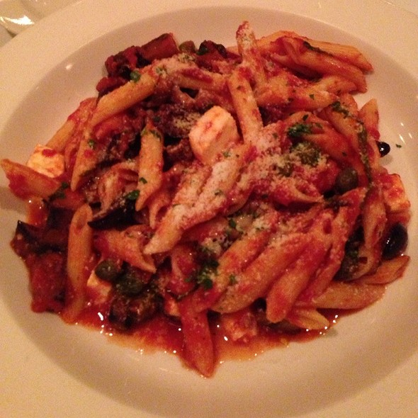 Penne Pasta With Eggplant, Capers, Olives And Mozzerella - Lorenzo's Trattoria, St. Louis, MO